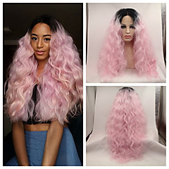 cheap Wigs & Hair Pieces-sexy beauty high heat resistant loose wave kinky curly lace front wig synthetic ombre pink dark root tone rock pink hair lace front wig cosplay wig