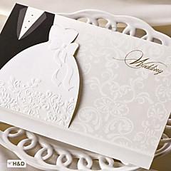 baratos Convites de Casamento-Dobrados Convites de casamento Cartões de convite Estilo Noiva e Noivo Papel de Cartão Conjuntos