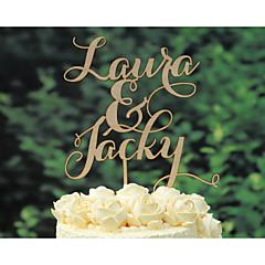 קישוטים לעוגה מותאם אישית זוג קלסי כרום חתונה יום שנה צהוב נושא קלאסי נושא וינטג נושא כפרי 1 תיק פולי