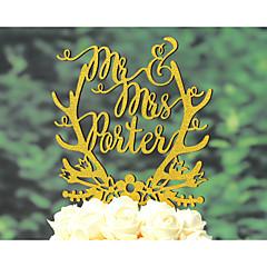Kakepynt Personalisert Klassisk Par Religiøs Krom Kort Papir Bryllup Jubileum Utdrikkingslag Gull SølvHage Tema Blomster Tema Klassisk