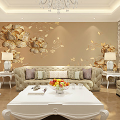 cheap Wallpaper-Gold-Studded Flowers Customized 3D Large Wall Coverings Mural Wallpapers Fitted Restaurant Bedroom Living Room