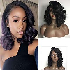 Χαμηλού Κόστους Περούκες από Ανθρώπινη Τρίχα-Φυσικά μαλλιά Δαντέλα Μπροστά Περούκα Βραζιλιάνικη Σγουρά Περούκα Κούρεμα καρέ / Με μικρές μπούκλες 130% 8-26 inch Φυσική γραμμή των μαλλιών / Περούκα αφροαμερικανικό στυλ / 100% δεμένη στο χέρι