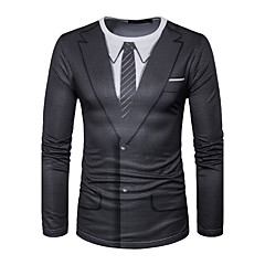 男性 フォーマル お出かけ 春 秋 Tシャツ,シンプル 活発的 ラウンドネック 幾何学模様 レッド ブラック コットン 長袖 ミディアム