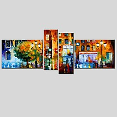 cheap Wall Art-Print Stretched Canvas - Abstract Classic Modern Four Panels
