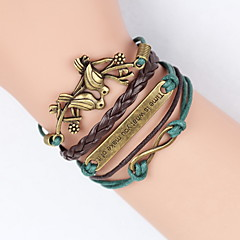 cheap Bracelets-Men's Women's Charm Bracelet Leather Bracelet Wrap Bracelet Vintage Cute Party Casual Friendship Plaited Multi Layer Handmade Braided/Cord