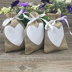 cheap Favor Holders-Round Square Cuboid Jute Favor Holder with Ribbons Printing Favor Boxes Favor Bags - 20