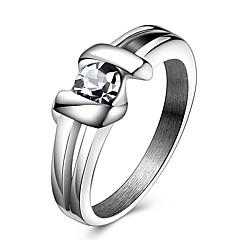 女性用 ステートメントリング 指輪 クリスタル クリスタル チタン鋼 ジュエリー 用途 パーティー 日常 カジュアル スポーツ