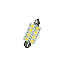billige Interiørlamper til bil-8 x varm hvit 41mm 5050 8smd girlander dome kart interiør ledet lyspærer de3423 6418