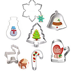 7pcs Creative Stainless Steel DIY Cake Biscuit Baking Mold Christmas  Series Fondant Cookie Cutters Moulds Sugar Paste Cake