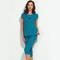 billige Moteundertøy-Dame Pyjamas, Ensfarget Bomull Lin Fuksia Grønn Blå Rosa Vin