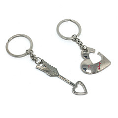 Cupid's Arrow Heart Key Ring Keychain for Lovers Valentine's Day(One Pair)