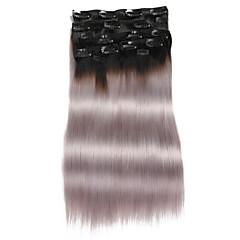 cheap Highlighted Hair-Clip In Human Hair Extensions Human Hair Straight Daily