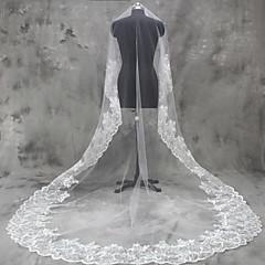 Voal de Nuntă Un nivel Voaluri de Obraz Voaluri Lungi Până la Cot Voaluri Lungime Până la Vârfurile Degetelor Voaluri de CatedralăMargine