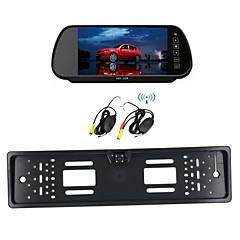 carro sem fio 7 lcd placa monitor / espelho de licença europeu 170 hd vista visão carro noite câmera traseira