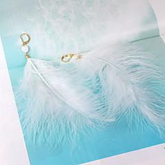設定ピアス 幸福 羽毛 シェル ハート フェザー ホワイト ジュエリー のために 日常 カジュアル 1ペア