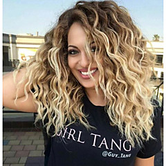 cheap Wigs & Hair Pieces-women's synthetic wigs ombre two tone strawberry blonde wigs long wavy wig Synthetic Hair Ombre Hair / Dark Roots / Middle Part Medium Length Capless Wig