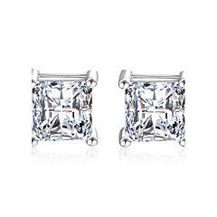 Stud Earrings AAA Cubic Zirconia Imitation Diamond Costume Jewelry Elegant Classic Sterling Silver Cubic Zirconia Square Jewelry For
