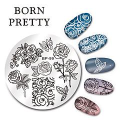 Né jolie ronde nail art timbre estampage plaques modèle papillon fleur design image plaque set 5.5cm bp-99