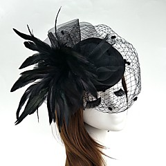 cheap Party Headpieces-Feather Net Fascinators Flowers Hats Headwear Birdcage Veils Wreaths with Floral 1pc Wedding Special Occasion Headpiece