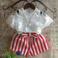 billige Tøjsæt til piger-Pige Tøjsæt Daglig Stribet Patchwork, Rayon Sommer Kortærmet Stribet Rosette Blonde Hvid