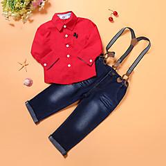 billige Tøjsæt til drenge-Drenge Tøjsæt Daglig I-byen-tøj Ferie Ensfarvet, Bomuld Polyester Forår Efterår Langærmet Rød