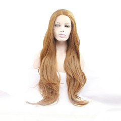 cheap -sylvia synthetic lace front wig strawberry blonde heat resistant long natual wave synthetic wigs