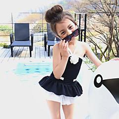 billige Badetøj til piger-Børn Pige Folder Ensfarvet / Patchwork Bomuld Badetøj Hvid