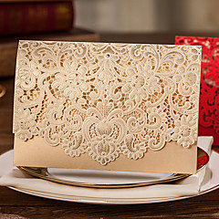 Top Fold Wedding Invitations 50-Invitation Cards Classic Style Pearl Paper