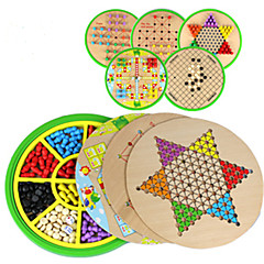 tanie Gra w szachy-Gry planszowe Szachy Halma Zabawki Okrągły Drewniany Sztuk Dla dzieci Dla obu płci Prezent