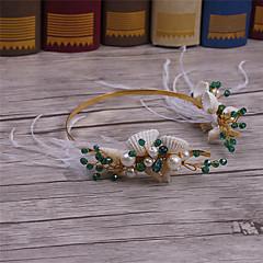 羽毛 クリスタル 真鍮 合金 人造真珠 かぶと-結婚式 パーティー カジュアル ヘッドバンド 1個