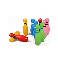 tanie Zabawa na dworze i sport-Piłeczki Drewniane puzzle Kręgla dla dzieci Zabawki fitness Gry w kręgle Zabawka edukacyjna Ekologiczne Kolorowy Prezent Dla dzieci