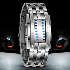 Herre Armbåndsur Digital Watch LED Vannavvisende Digital Rustfritt stål Band Luxury Svart Sølv