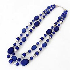 baratos -Mulheres Fashion Euramerican Colares com Pendentes Colares Declaração Sapphire sintético Pedras preciosas sintéticas Colares com