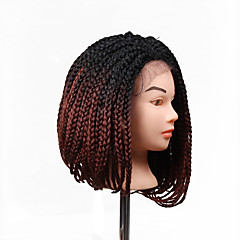 cheap Wigs & Hair Pieces-lace frontal box braids wig synthetic braiding hair wigs bob box braid wig style ombre color synthetic wig hair extension 14inch short length 1pc