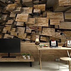 billige Tapet-blokk treplank tilpasset 3d stor veggdekorasjon veggmaleri tapet passer restaurant soverom kontor