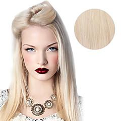 Χαμηλού Κόστους Deluxe Hair-Κουμπωτό Επεκτάσεις ανθρώπινα μαλλιών Ίσιο Φυσικά μαλλιά Πλατινέ Ξανθό