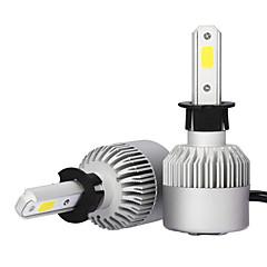 2x h3 levou farol 72w 7600lm lâmpadas 6000k branco carro luz de névoa farol cob s2
