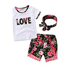 billige Tøjsæt til piger-Pige Tøjsæt Daglig Sport Formel Blomstret, Bomuld Sommer Kortærmet Blomster Rosette Hvid