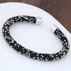 levne -Dámské Široké náramky imitace drahokamu Módní Slitina Round Shape Černá Stříbrná Šperky Pro Párty 1 ks