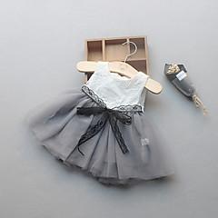 billige Babytøj-Baby Pige Blonde / Folder Ferie / Afslappet / Hverdag / Strand Ensfarvet Uden ærmer Normal Normal Bomuld Kjole Hvid 100