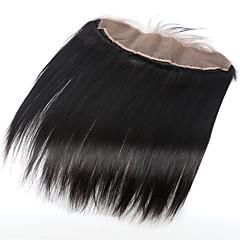 billiga Peruker och hårförlängning-ELVA HAIR Brasilianskt hår 4x13 Stängning Rak / Klassisk Mittparti / 3 Del / Sidodel Schweizisk spetsperuk Äkta hår Dagligen