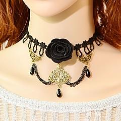 Dámské Obojkové náhrdelníky Flower Shape Napodobenina perel Krajka Černá perla Módní Klasický Šperky Pro Svatební Párty Zvláštní