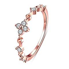 billige Motering-Dame Ring Kubisk Zirkonium Gull Sølv Rose gull Zirkonium Kobber Sølvplett Chrome Gullplatert rose Geometrisk Form Blomst Personalisert