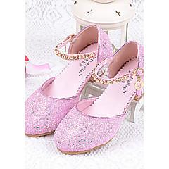 billiga Brudskor-Flickor Skor Glitter Sommar Komfort Klackar Glitter för Silver / Blå / Rosa