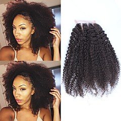 cheap Wigs & Hair Pieces-SunnyQueen Mongolian Hair 4x4 Closure Curly / Afro / Classic Free Part / Middle Part / 3 Part French Lace Remy Human Hair / Human Hair Daily