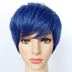 billiga Peruker och hårförlängning-Syntetiska peruker Rak Syntetiskt hår Blå Peruk Herr / Dam Korta Naturlig peruk / Halloween Paryk / Karneval peruk Utan lock
