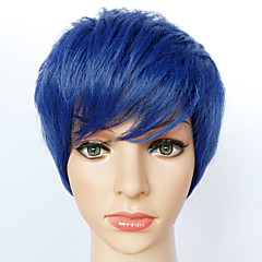 baratos Perucas Sintéticas-Perucas sintéticas Liso Cabelo Sintético Azul Peruca Homens / Mulheres Curto Sem Touca