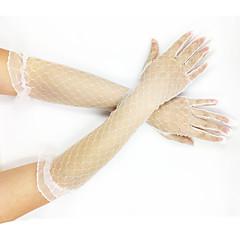 お買い得  パーティー用グローブ-チュール ネット オペラレングス ブライダル手袋 パーティー/イブニング手袋 ラッフル  -  グローブ
