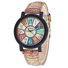 Damen Modeuhr Armbanduhr Quartz / PU Band Freizeit Cool Schwarz Weiß