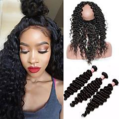 Χαμηλού Κόστους Ένα πακέτο μαλλιά-Μογγολική Σγουρά / Βαθύ Κύμα / Σγουρή ύφανση Αγνή Τρίχα Ένα πακέτο Λύση Υφάνσεις ανθρώπινα μαλλιών 8α Επεκτάσεις ανθρώπινα μαλλιών